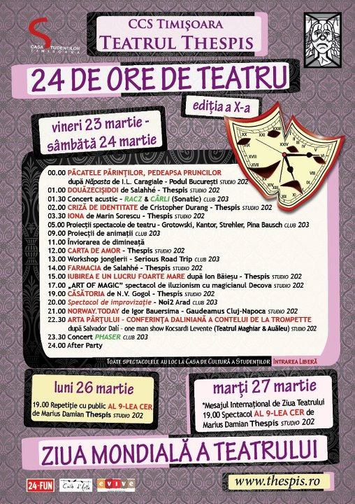 24 de ore de teatru cu Thespis la Timişoara